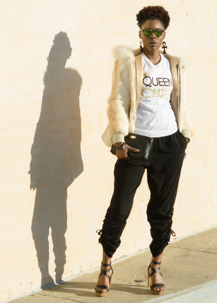Queen Chic: Graphic Tee and Fur
