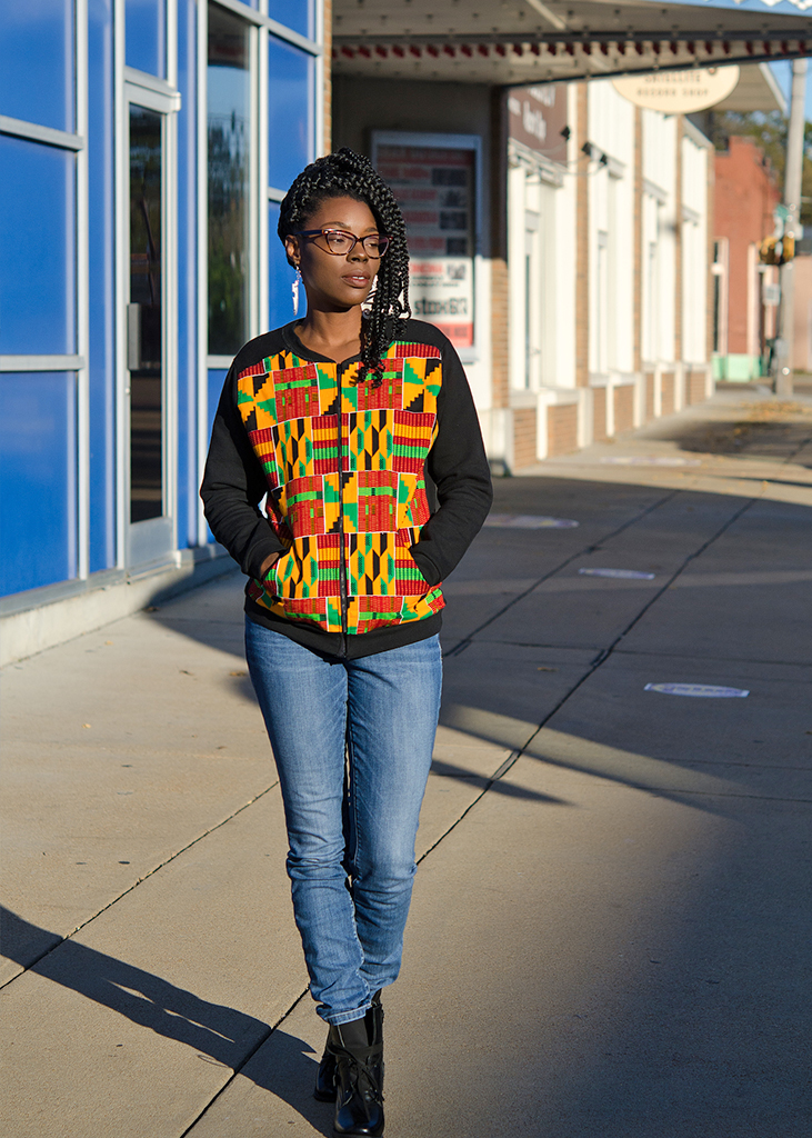 Kente Print Bomber Jacket