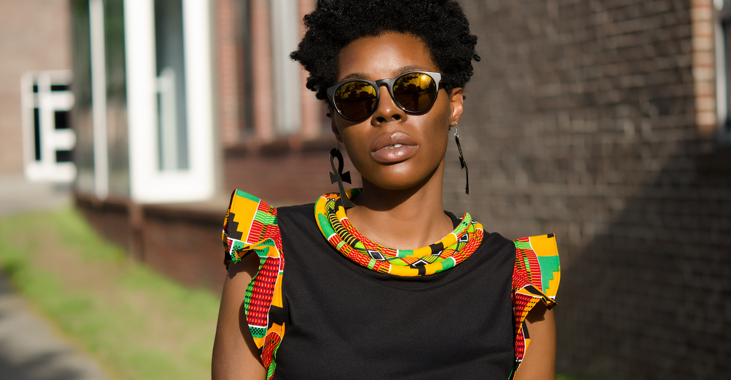 And another one....the Kente Print Ruffle Sleeve Tee